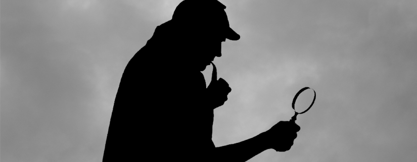 Black silhoutte of Sherlock Holmes smokiong a pipe and looking through magnifying glass with foggy background